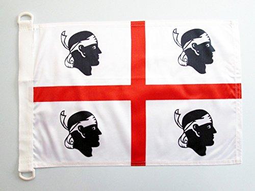 AZ FLAG BOOTFLAGGE SARDINIEN 45x30cm - SARDINIEN BOOTSFAHNE 30 x 45 cm Marine flaggen Top Qualität