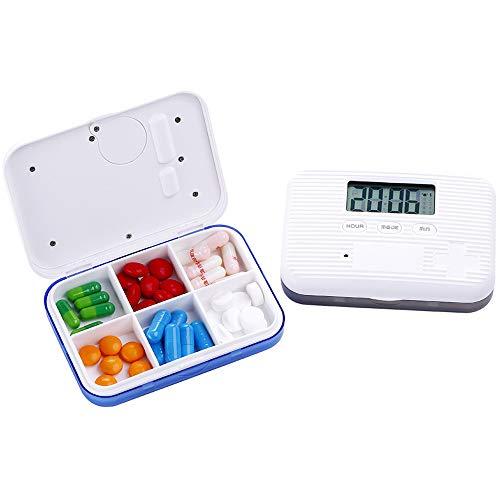 QHGao Elektronische Intelligente Automatische Pil Dispenser, Dagelijkse Drug Manager met Alarm Herinnering En 5 Alarm Klokken, Timer, Aftellen En Tijd Display, Geneeskunde En Levering (Blauw)