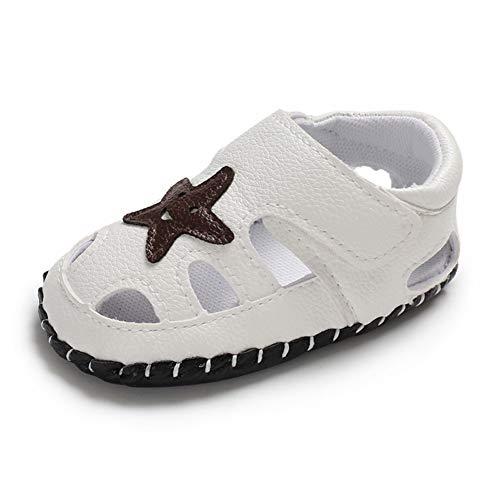 Geagodelia Baby Sandalen Weicher Lauflernschuhe Hausschuhe für Kleinkind Junge Mädchen mit Modern Sterne Muster (12-18 Monate, Weiß)