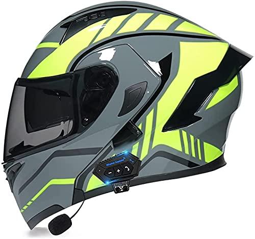 Flip Up Front Motorbike Helmet,Bluetooth Motorcycle Helmet DOT/ECE Approved Motorcycle Crash Helmet, Modular Motorcross Helmets with Double Sun Visor 1,M=57-58CM