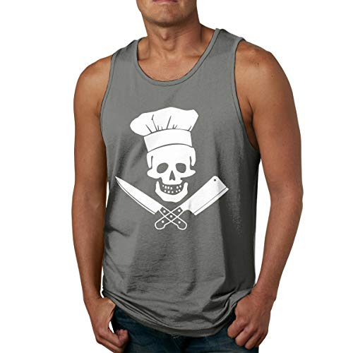 Abigails Home Skull-Chef Cuisine Débardeurs sans Manches pour Hommes Tee Tee Sports de Basket T-Shirts Fitness en Plein air(3XL,Deep Heather)