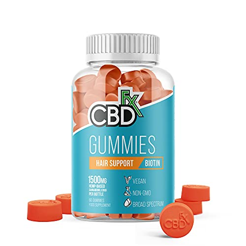 CBDfx Biotin Hair Support CBD Gummies (60 Gummy Bottle) - 1500mg CBD