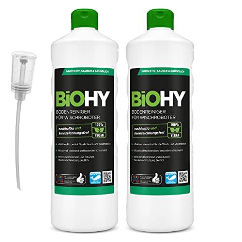 BiOHY Bodenreiniger für Wischroboter (2x1l Flasche) + Dosierer | Konzentrat für alle Wisch & Saugroboter mit Nass-Funktion | nachhaltig & ökologisch