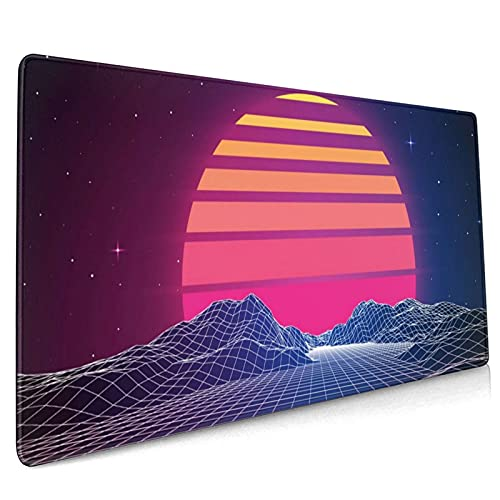 Retro Neon Sunset Synthwave Extended Mouse Pad 35.4x15.7 Inch XXL Retrowave Vaporwave Non-Slip Rubber Base Large Gaming Mousepad Stitched Edges Waterproof Keyboard Mouse Desk Pad for Office Home