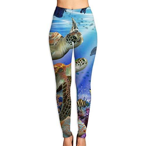 JJsister Pantalones de Yoga, Women's Ocean Animal Turtle Printed Leggings Full-Length Yoga Workout Leggings...