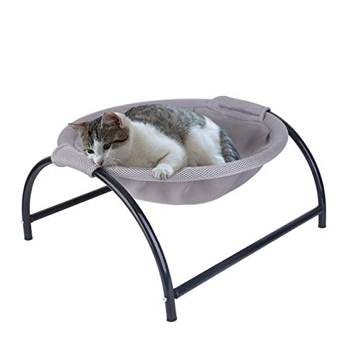 NOYAL Cat Hammock Bed, Elevated Pet Bed Breathable Hanging Nest with Detachable Cover and Heavy Duty Iron Frames Cat Cooling Cot for Kitty & Puppy (Gray)