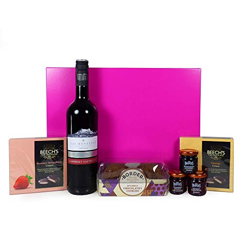 75cl Las Montanas Red Wine & Nibbles Food Hamper Presented in a Pink and Silver Gift Box - Ideas for Christmas, Mum, Mothers Day, Grandma, Her, Wife, Birthday, Anniversary, Teacher, Thank you