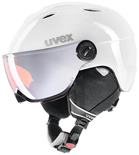 Uvex Kinder Junior Visor Pro Skihelm, white-grey, 46-52 cm