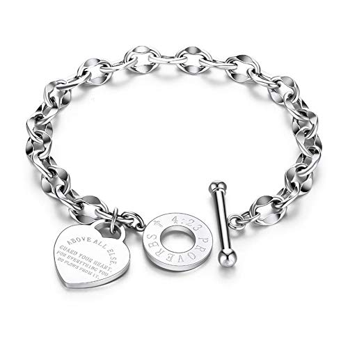 JUPPE Silver Titanium Steel Engraved Bracelet Personalized Proverbs 4:23 Bangle Gift for Women Girls (Silver-1)