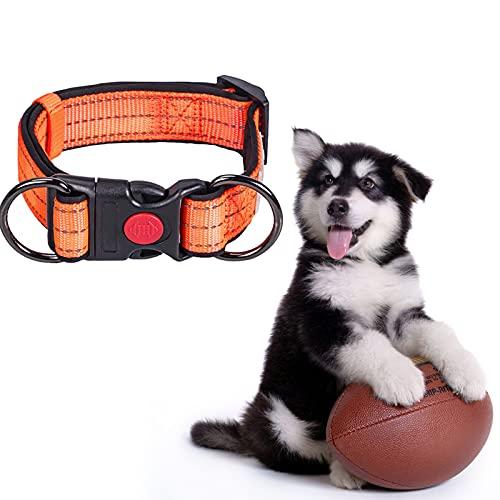 Collar Reflectante para Perros, Collares de Nailon Ajustables para Mascotas con Hebilla de Bloqueo de Seguridad Collar para Mascotas Acolchado Suave para Perros medianos Grandes (Naranja, L)