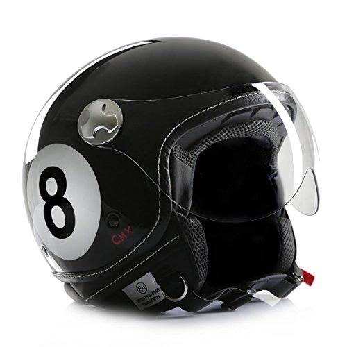 Motorradhelm Jethelm Chopperhelm Cafe Racer CMX Eightball 8Ball schwarz M