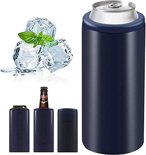 MARIJEE 2020 - Enfriador de latas delgado, aislado de acero inoxidable, doble pared con aislamiento al vacío, enfriador de latas aislado, enfriador de cerveza