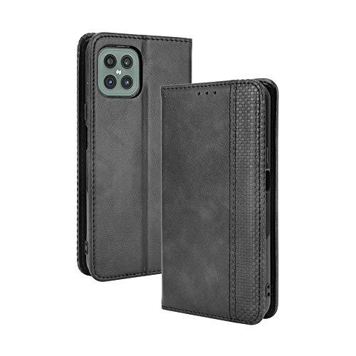 LAGUI Kompatible für Cubot C30 Hülle, Leder Flip Hülle Schutzhülle für Handy mit Kartenfach Stand & Magnet Funktion als Brieftasche, schwarz