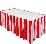 Frmarche Tischrock mit roten Streifen und weißer Tischdecke Tischdecken mit Picknicktischdecken