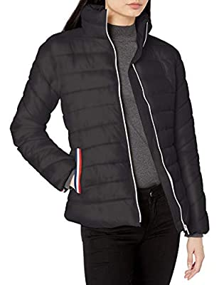 Pink Platinum Women's Poly CIRE Puffer W/Taping Detail, Black, L