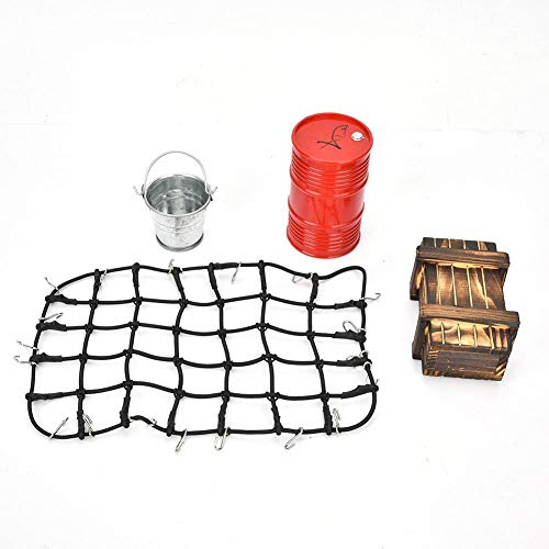 Tbest RC Gepäcknetz, Ölkanne Holzkiste Metall Eimer Kit RC Auto Dekoration Set Fahrzeug Maßstab Zubehör für 1: 8 1:10 RC Auto(Schwarz)