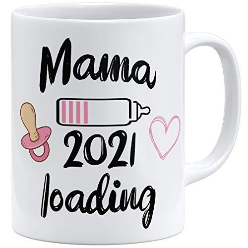 OM3 Mama Loading 2021 - Taza de cerámica, 325 ml, diseño de chica con texto en ambos lados, color blanco