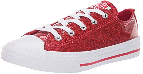 Converse Girls' Chuck Taylor All Star Glitter Coated Low Top Sneaker, Cherry red/White/White, 1 M US Little Kid