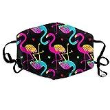 Homect Unisex-Gesichtsmaske mit Herz-Flamingo-Motiv, Regenbogenfarben, vollständig abdeckend, mit UV-Schutz