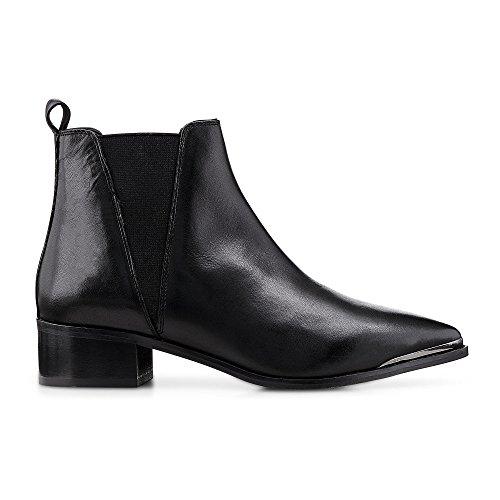 Another A Damen Chelsea-Boots aus Leder, Stiefeletten in Schwarz mit schicken Metall-Details Schwarz Glattleder 39