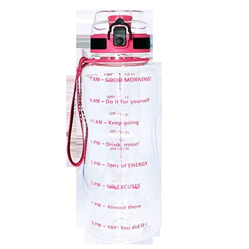 HYMD Botella de Agua Deportiva 1.3L 2L Botella de Agua con Marca de Tiempo BPA Free Tritan Gym Fitness Deporte Filtro de Bebida de plástico (Capacity : 1.3L, Color : K)