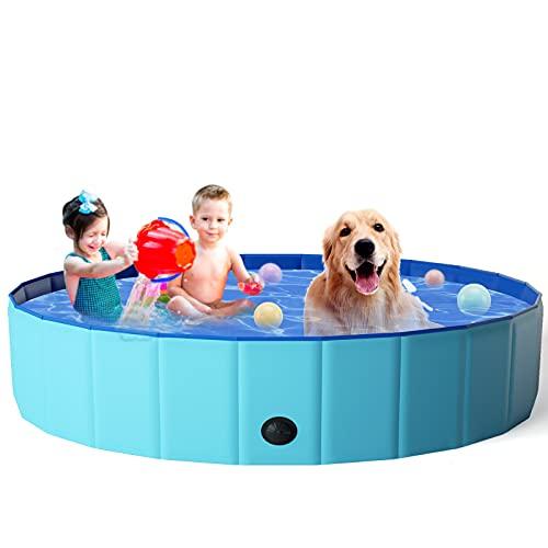 KORIMEFA Hundepool für Hunde, Swimmingpool Hund Planschbecken Schwimmbecken, Faltbarer Pool Badewanne Wasserbecken, Klappbares Haustier-Duschbecken (160*30CM)