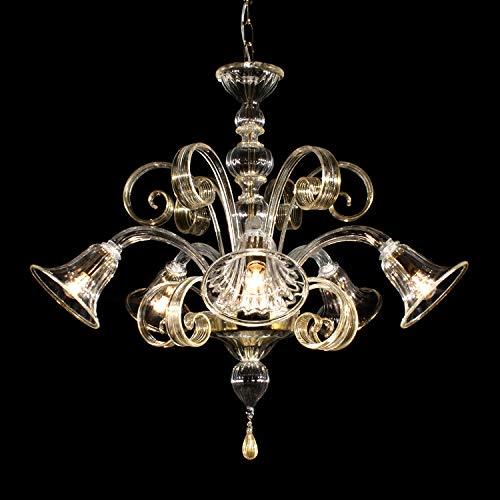 Lampadario Murano GUGLIE - 5 luci - Cristallo decoro oro 24k | GUGLIE model - 5 lights - Crystal, gold decoration24k