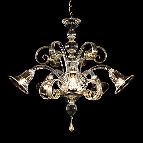Lampadario Murano GUGLIE - 6 luci - realizzato in vetro cristallo trasparente con lavorazione rigadin dritto, le decorazioni sono in cristallo e oro 24k , parti metalliche dorate.