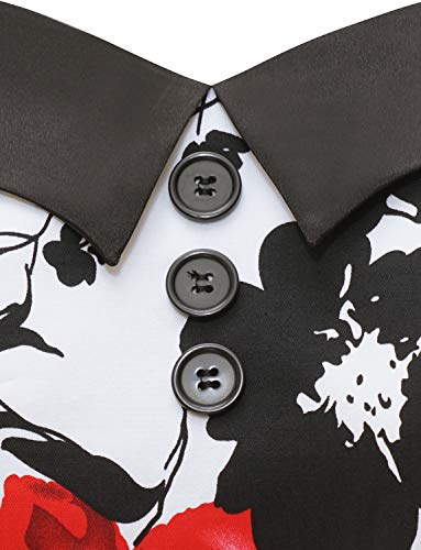 Dressystar DS1957 Vintage Tupfen Retro Cocktail Abschlussball Kleider 50er 60er Rockabilly Neckholder Rot Blume XS - 5