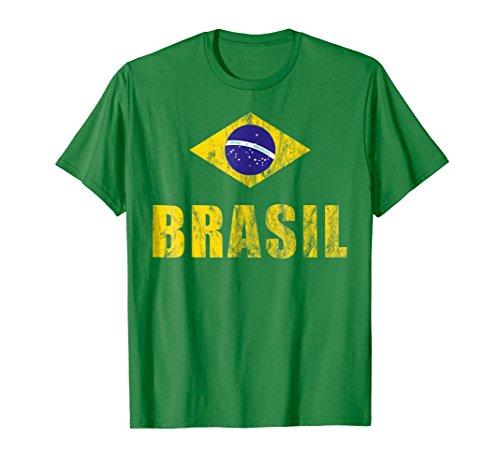 Brasil T-Shirt Gift Brazilian Flag Soccer Jersey Tee