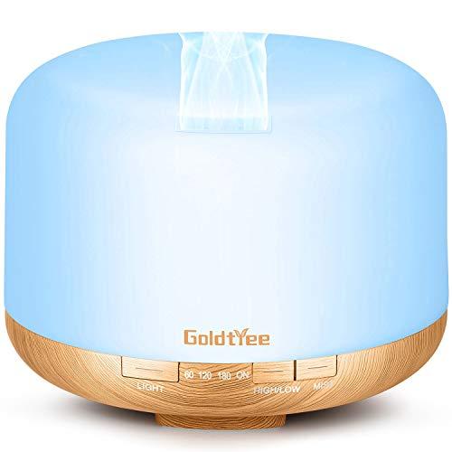 Difusor de aceite esencial de 500 ml, difusor mejorado para aceites esenciales, difusor de aromaterapia 6 en 1, humidificador ultrasónico con 2 modos de niebla, 5 temporizadores, 7 colores sin agua, apagado automático para habitación grande
