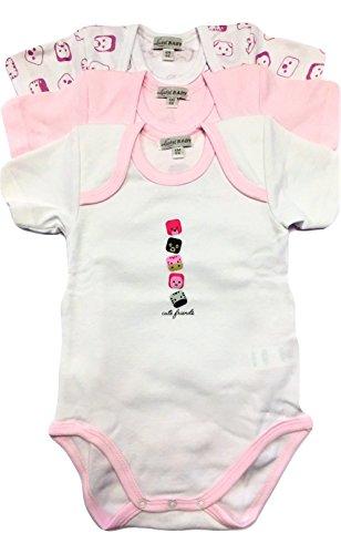 Liabel Confezione da 3 Body NEONATA Mezza Manica Baby in Cotone Felpato - Assortimento Colore Rosa (Fantasie Assortite) 0/1