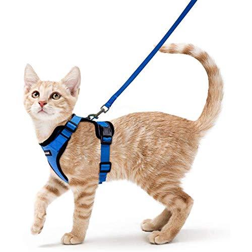 rabbitgoo Katzengeschirr mit Leine Softgeschirr für Katze Brustgeschirr Cat Harness Katzengarnitur ausbruchsicher verstellbar Katzenweste