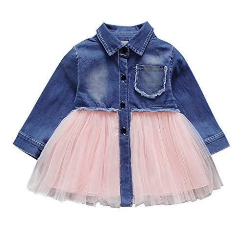 PinkLu NiñO Infantil Bebé NiñAs Denim Tutu Tul Princesa Vestidos Trajes Falda De Mezclilla De Costura De Manga Larga para NiñOs Falda con Malla Vestido De Princesa