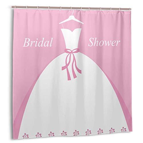 zheng Duschvorhang für Badezimmer Dekor Vorhänge Set,Feier Braut Party Brautkleid mit Schatten Hintergrund Bild Stoff Bad Vorhänge mit Haken 72x72in