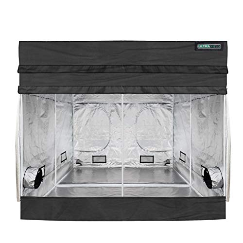 """Ultra Yield 120""""x120""""x84"""" + 12"""" Extension Grow Tent - 1680D Mylar Professional Indoor Growing Tents - Use for Hydroponics Growing System - 10x10"""
