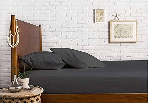 3 PC Combo Package Includes- 1 Fitted Sheet with 2 Envelop Closure Pillowcases 100% Natural Cotton 600 TC Cal-King - Dark Grey Bed Sheet Set Premium Soft Sateen Weave Fit Elastic Mattress 21' Deep