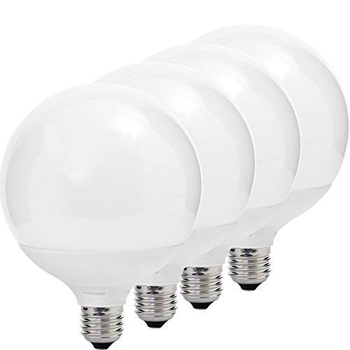MÜLLER-LICHT 400050 A+, 4er-SET LED Lampe Globeform ersetzt 75 W, Plastik, E27, weiß, 12 x 12 x 16.4 cm dimmbar [Energieklasse A+]