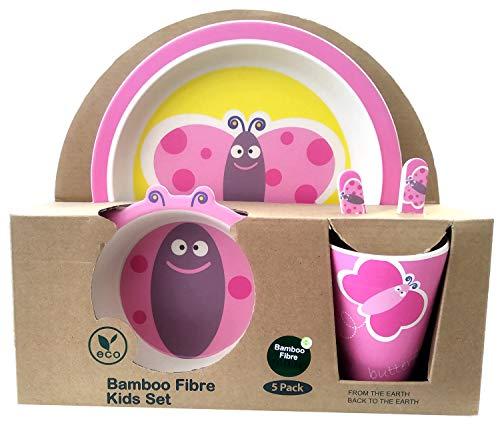 Vajilla de bambú bebé e Infantil, Material ecológico sin BPA Animales, Apto para lavavajillas (Mariposa)