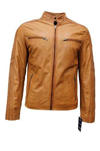 Smart Range Intelligente Tan 4924 Hommes Retro Cool Biker Style de Moto Souple Nappa Leather Jacket (2XL)