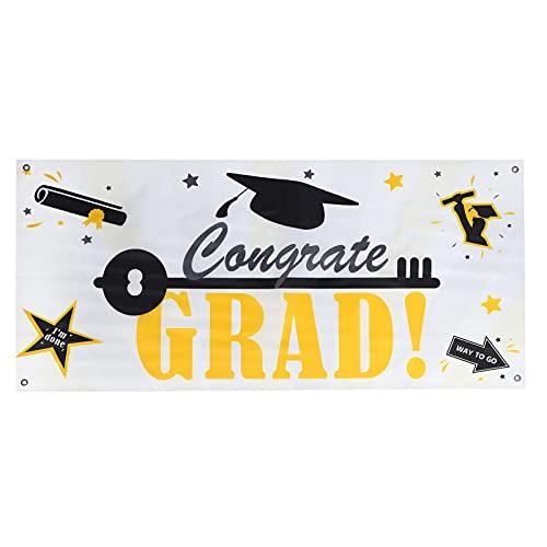 卒業写真の背景、ポータブル卒業パーティー用品おめでとう卒業式バナーユニバーサルラージサイズ卒業式の装飾(ホワイトバスター卒業)