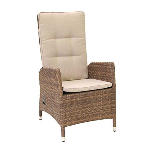 greemotion Geflechtsessel Garda braun bicolor, inkl. Auflagen in Sandfarbe, stufenlos verstellbare Rückenlehne, Sessel aus hochwertigem Aluminiumgestell mit robustem Polyethylengeflecht, witterungsbeständig