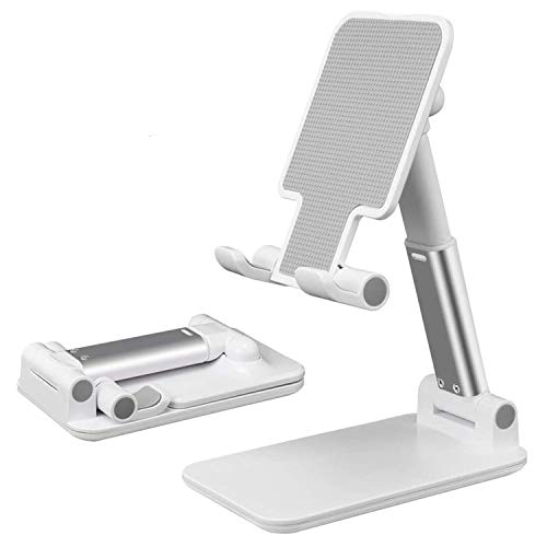 Suporte de celular, suporte de mesa portátil ajustável, suporte de telefone dobrável para acessórios de home office compatíveis com todos os celulares/iPad/Kindle/Tablet, Branco
