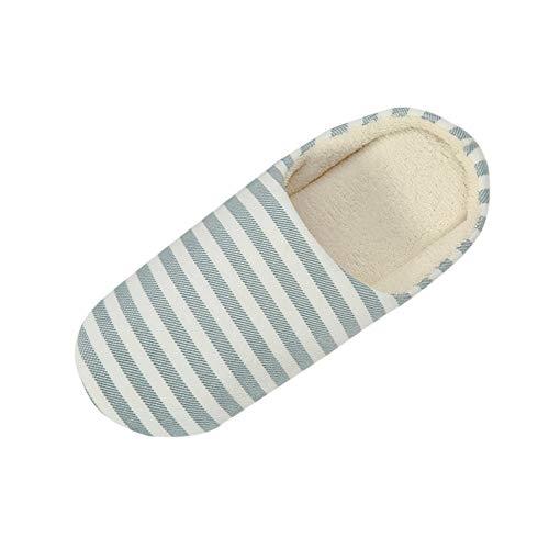 Zapatillas De Casa De Mujer Antideslizante CáLido Zapatos Invierno Hombre Pantuflas Cómodas Suave Slippers Mujeres Hombres Parejas Rebaño de Rayas Calzado Zapatillas de casa Zapatillas de Interior