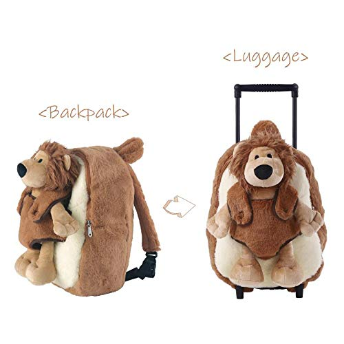 Funday Toddler Backpack with Removable Wheels - Little Kids Luggage Backpack with Stuffed Animal Toy Cool Lion for Toddler Boys and Girls