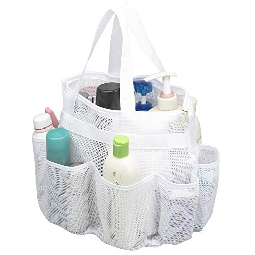 ALYER Large Mesh Toiletry Tote Bag with Separated Inner Compartment,Portable Shower Caddy Bath Organizer with Durable Handles and Zipper (White)