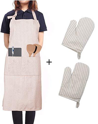 LessMo Schürze mit Handschuhe, aus 100{f3a33d07467c1d3e5d470b1f4e31e128ac572e8ffec76766be13b727476c63ed} Baumwolle, Kochschürze und Grillschürze in Profiqualität mit verstellbarem Nackenriemen, 70 x 80 cm(Khaki)
