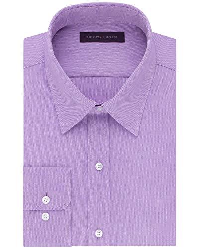 Tommy Hilfiger Mens Athletic Fit TH Flex Collar Dress Shirt 17 36/37 Viola