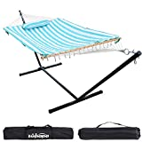 Cotton Rope Pad Hammock with Stand 400lbs Capacity, Indoor Outdoor Use 12 Feet Hammock Stand Spreader Bar Hammock Pad and Pillow Combo 2 Storage Bags Included (Cyan Stripe)