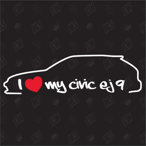 speedwerk-motorwear I Love My Civic EJ9 Silouette - Sticker für Honda BJ 1995-1999
